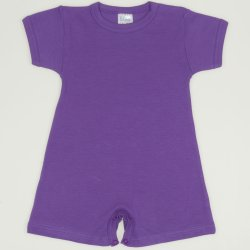 Salopeta maneca scurta si pantaloni scurti mov deep lavender uni