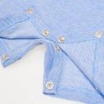 Salopeta polo maneca scurta si pantaloni scurti model albastru deschis pique | liloo