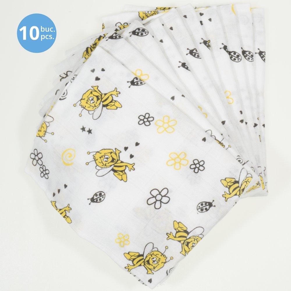 Pachet economic 10 scutece tetra (bumbac) albe cu imprimeu albinuțe - lavabile și refolosibile | liloo