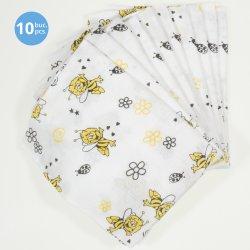 Scutece tetra (bumbac) albe cu imprimeu albinuțe - lavabile și refolosibile - set economic 10 bucăți