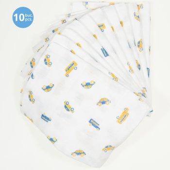 Set 10 scutece tetra (bumbac) albe cu imprimeu mașinuțe și autobuze - lavabile și refolosibile | liloo