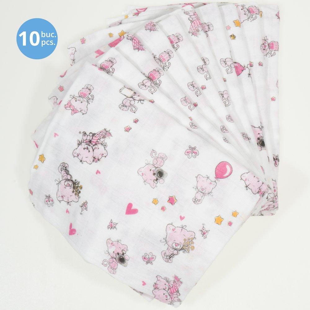 Set de 10 scutece tetra (bumbac) albe cu imprimeu pisicute și inimioare - lavabile și refolosibile | liloo