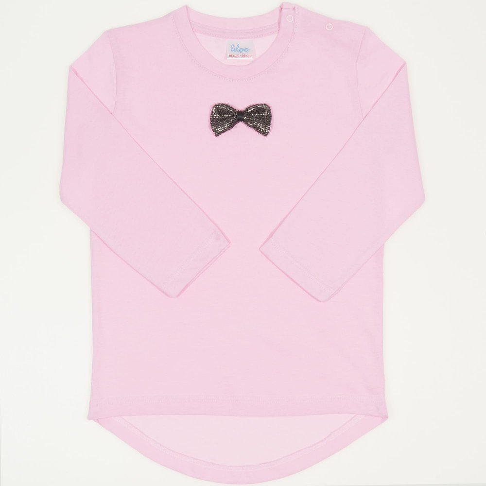 Tricou fetita - maneca lunga roz cu fundita | liloo