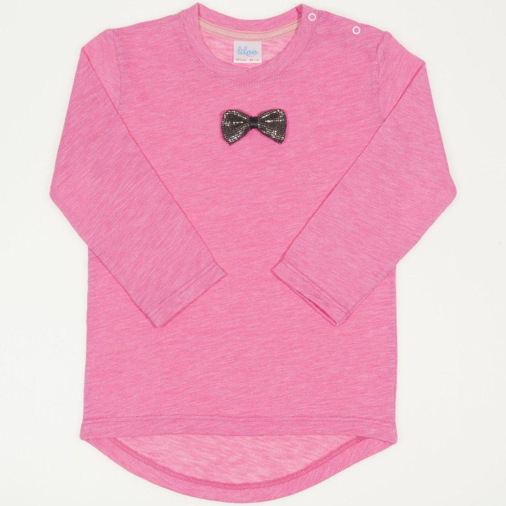 Tricou fetita - maneca lunga siclam cu fundita | liloo