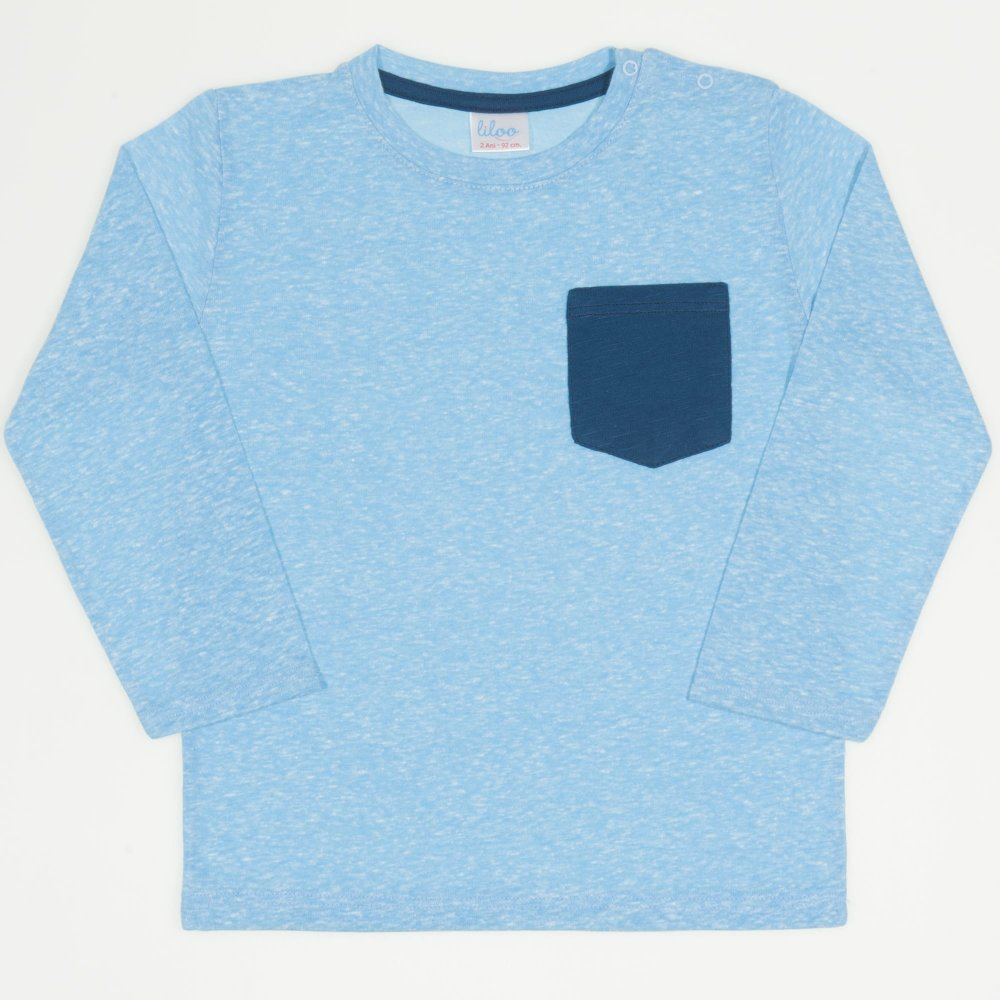 Tricou mânecă lungă azur buzunar bleumarin   liloo
