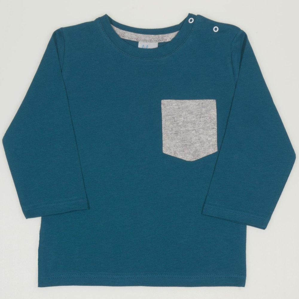 Tricou maneca lunga albastru inchis-verzui cu buzunar | liloo