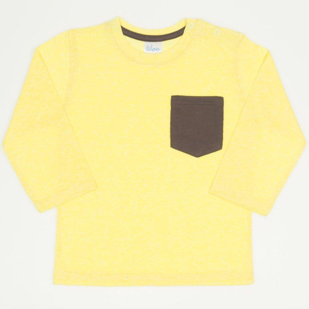 Tricou mânecă lungă galben buzunar maro | liloo
