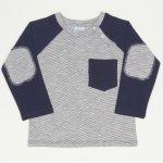 Tricou cu imprimeu mânecă lungă gri buzunar bleumarin | liloo