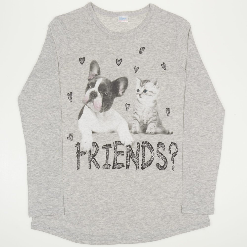 "Tricou maneca lunga gri imprimeu ""Friends"" | liloo"