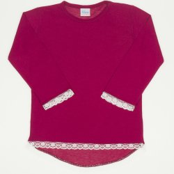 Burgundy long sleeve t-shirt with lace