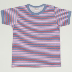 White with azure and red stripes short-sleeve tee
