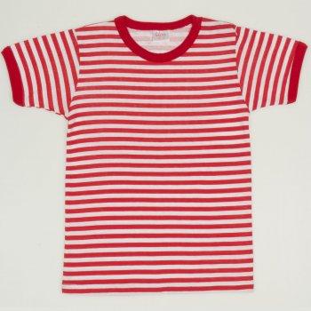 Tricou maneca scurta alb cu dungi rosii