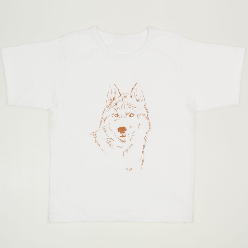 Tricou maneca scurta alb imprimeu lup | liloo