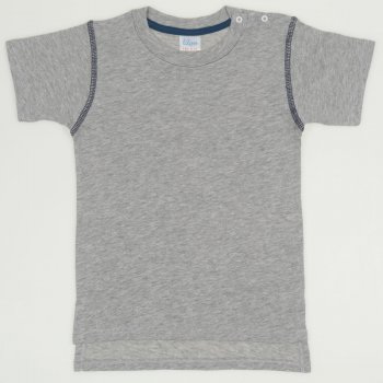 Tricou maneca scurta gri cu bleumarin
