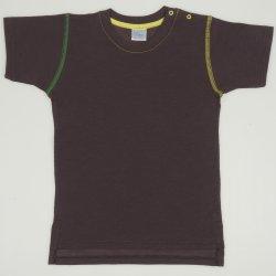 Tricou maneca scurta maro cu galben si verde