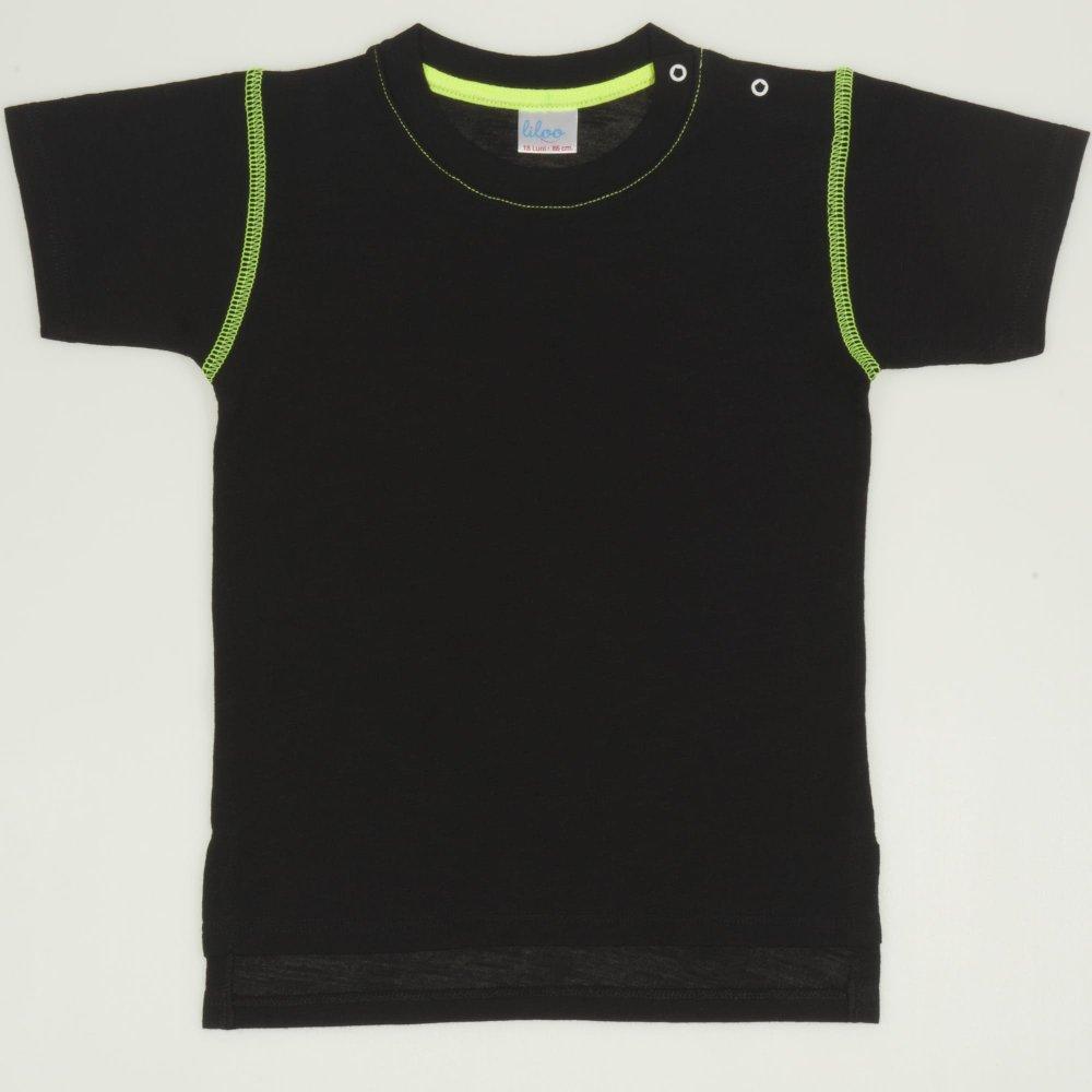 Tricou maneca scurta negru cu verde | liloo