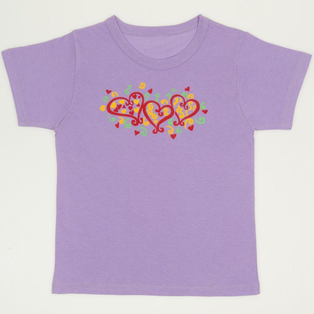 Tricou maneca scurta violet imprimeu inimioare| liloo
