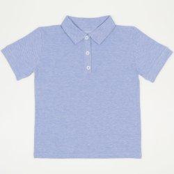 Tricou polo cu maneca scurta copii - model albastru deschis pique