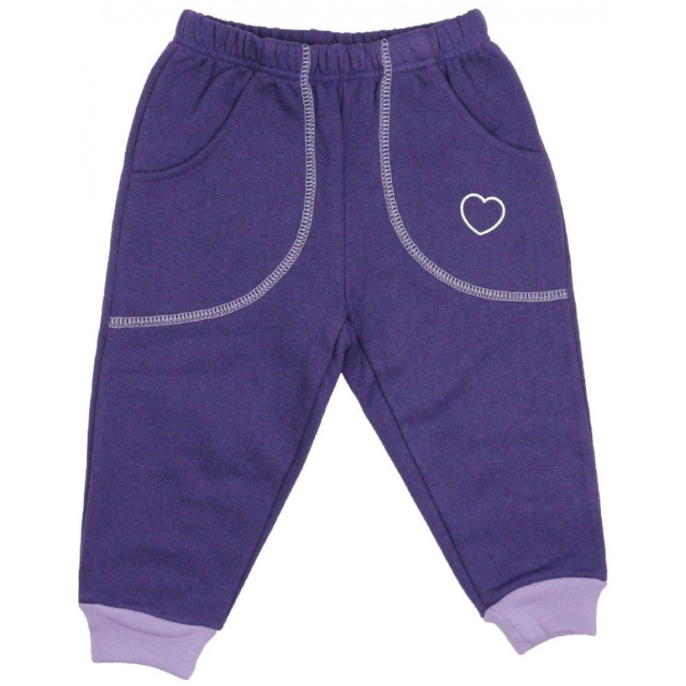 Pantaloni trening groși mov cu buzunar imprimeu inimioare | liloo