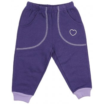Pantaloni trening groși mov cu buzunar imprimeu inimioare