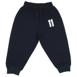 "Navy blue thin pull-on pants with ""11"" print"
