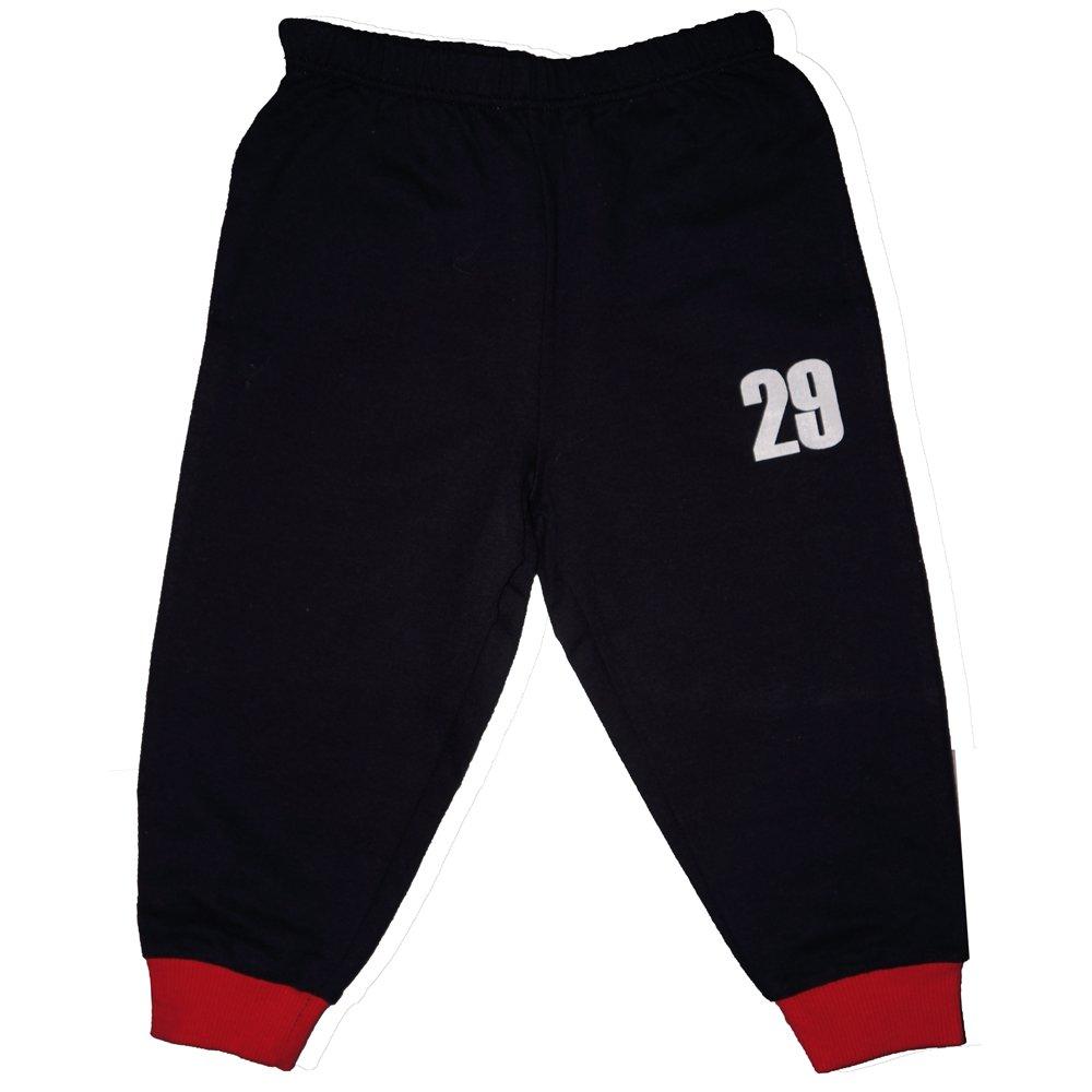 "Pantaloni trening subțiri bleumarin - manșete roșii imprimeu ""29"" | liloo"