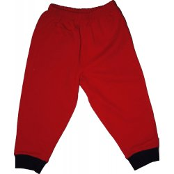 Red thin pull-on pants (navy blue cuffs)