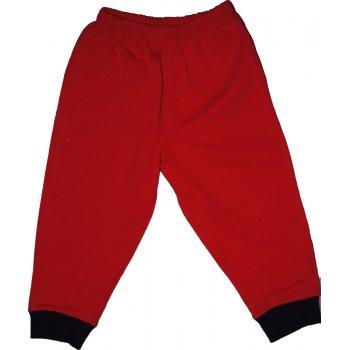 Pantaloni trening subțiri simpli roșii - manșete bleumarin