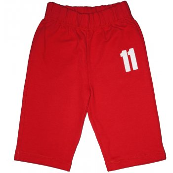 "Pantaloni trening subțiri fără manșetă roșii imprimeu ""11"""