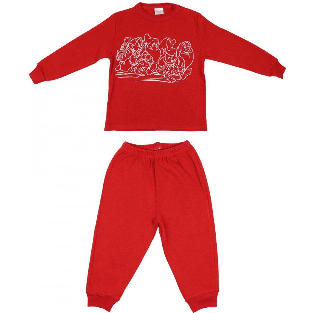 Pijamale groase roșii imprimeu pitici | liloo