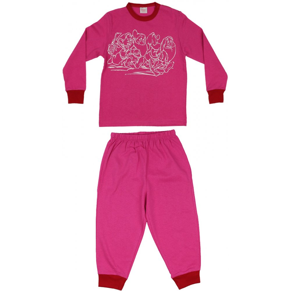 Pijamale primăvară-toamnă fucsia imprimeu pitici | liloo