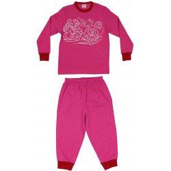 Pijamale primăvară-toamnă fucsia imprimeu pitici