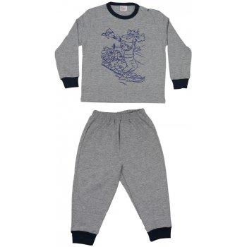 Pijamale primăvară-toamnă gri - manșete bleumarin imprimeu desene animate cățel și șoricei | liloo