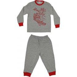 Pijamale primăvară-toamnă gri - manșete roșii imprimeu desene animate cățel și șoricei