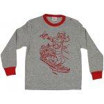 Pijamale primăvară-toamnă gri - manșete roșii imprimeu desene animate cățel și șoricei | liloo