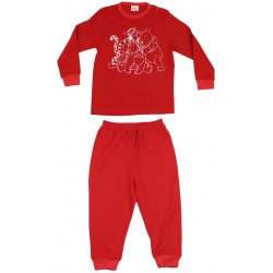 Red long-sleeve thin pajamas with animals print