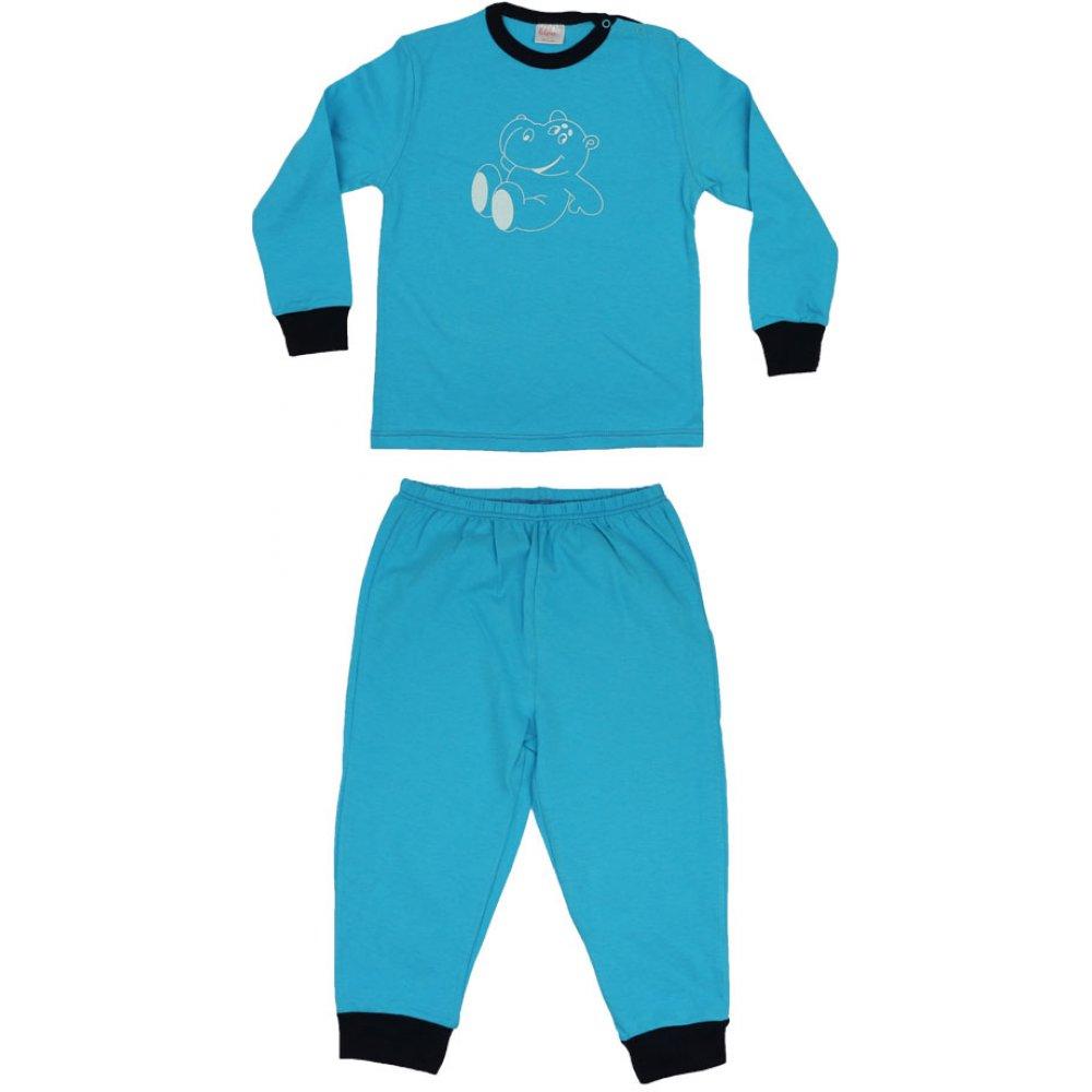 Pijamale primăvară-toamnă turcoaz imprimeu hipopotam | liloo