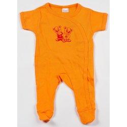 Salopetă mânecă scurtă și pantaloni cu botoșei orange imprimeu ursuleți