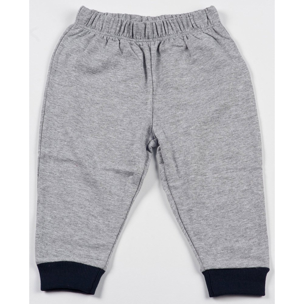 Pantaloni trening subțiri simpli gri - manșete bleumarin | liloo