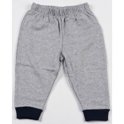 Grey thin pull-on pants (navy blue cuffs)