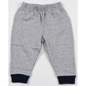 Pantaloni trening subțiri simpli gri - manșete bleumarin