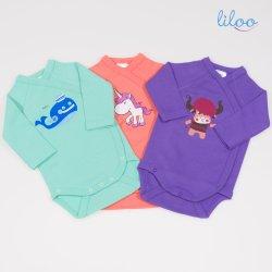 Body maneca lunga cu capse laterale (7 capse) pentru bebelusi si nou nascuti