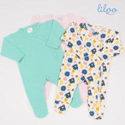 Salopete cu maneca lunga si panataloni cu botosei pentru bebelusi si nou nascuti