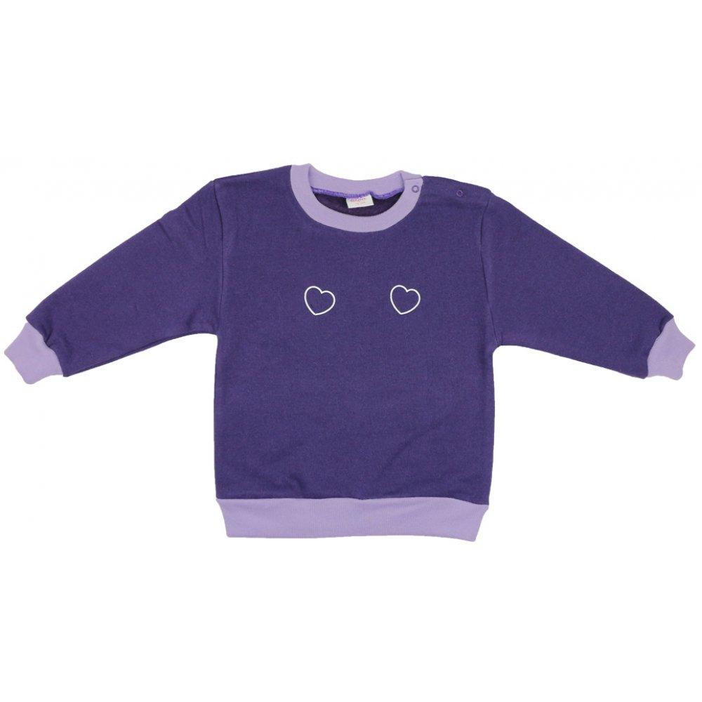 Bluză trening groasă mov imprimeu inimioare | liloo