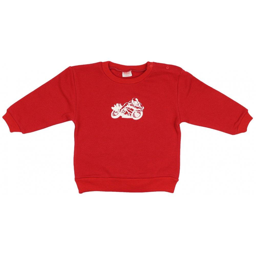 Bluză trening groasă roșie imprimeu motocicletă | liloo