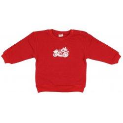 Bluză trening groasă roșie imprimeu motocicletă