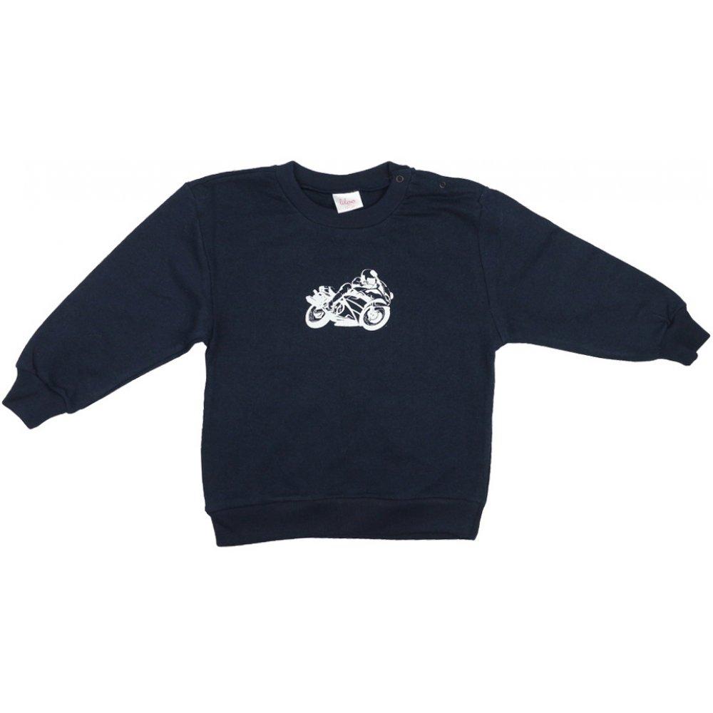 Bluză trening subțire bleumarin imprimeu motocicletă | liloo