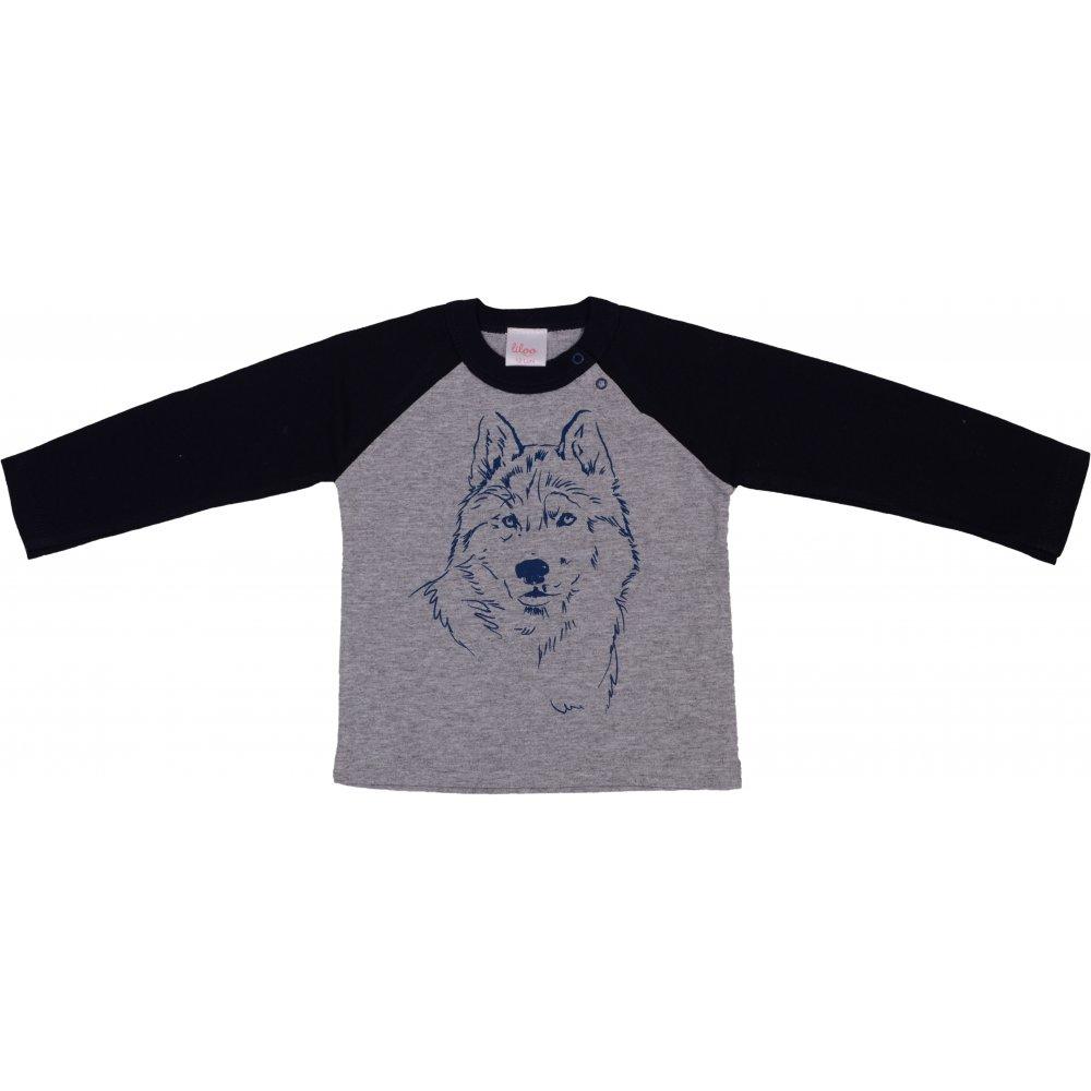 Tricou cu imprimeu mânecă lungă gri & bleumarin | liloo