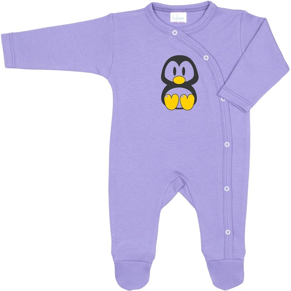 Salopeta maneca lunga si pantaloni cu botosei violet si imprimeu pinguin Tux