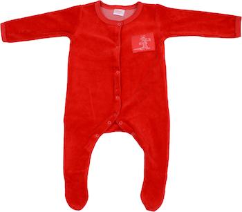 Pentru fetite: Salopeta catifea - maneca lunga si pantaloni cu botosei de culoare rosie